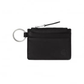 Leather Wallet with M Ring Black