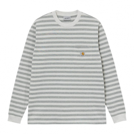 Carhartt WIP L/S Scotty Pocket T-Shirt White Heather / Grey Heather