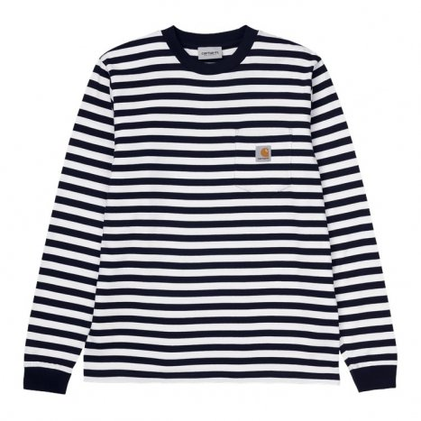 Carhartt WIP L/S Scotty Pocket T-Shirt Dark Navy / White