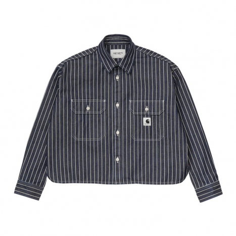 Carhartt WIP W' L/S Trade Shirt Dark Navy / White