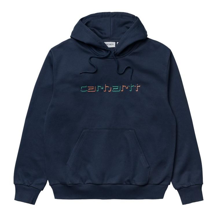Carhartt WIP Hooded Shadow Script Sweat Blue