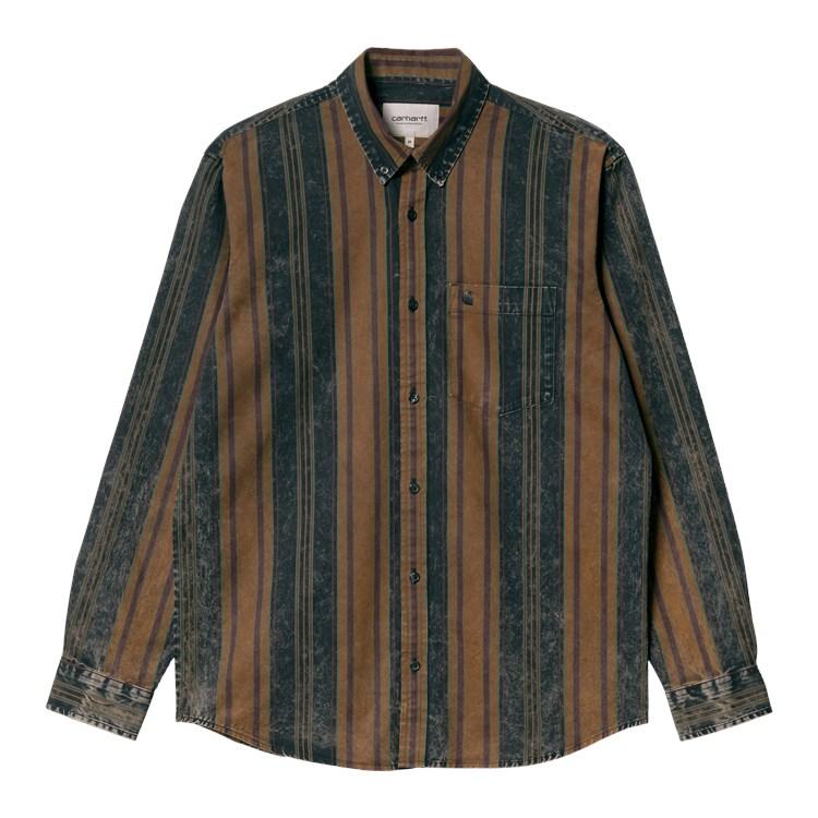 L/S Maynard Shirt Tawny / Dark Navy Stripe