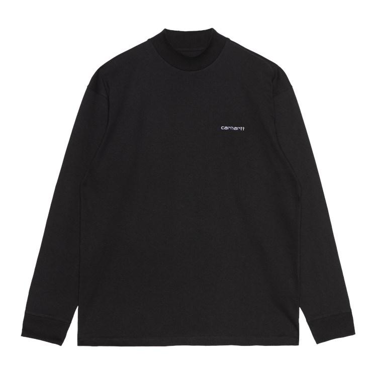 L/S Mockneck Script Embroidery T-Shirt Black
