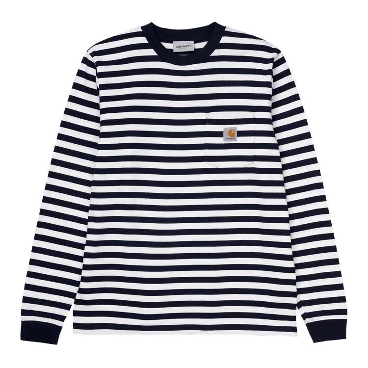 Carhartt WIP L/S Scotty Pocket T-Shirt Dark Navy / White