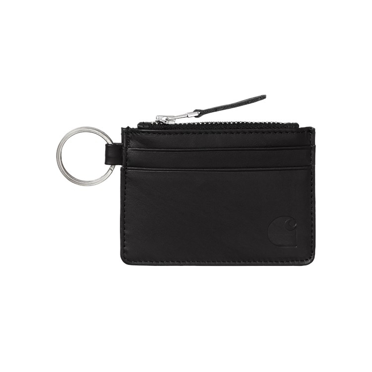 Carhartt WIP Leather Wallet With M Ring Black