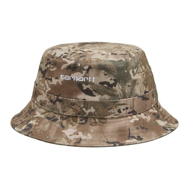 Carhartt WIP Script Bucket Hat Camo Combi, Desert / White