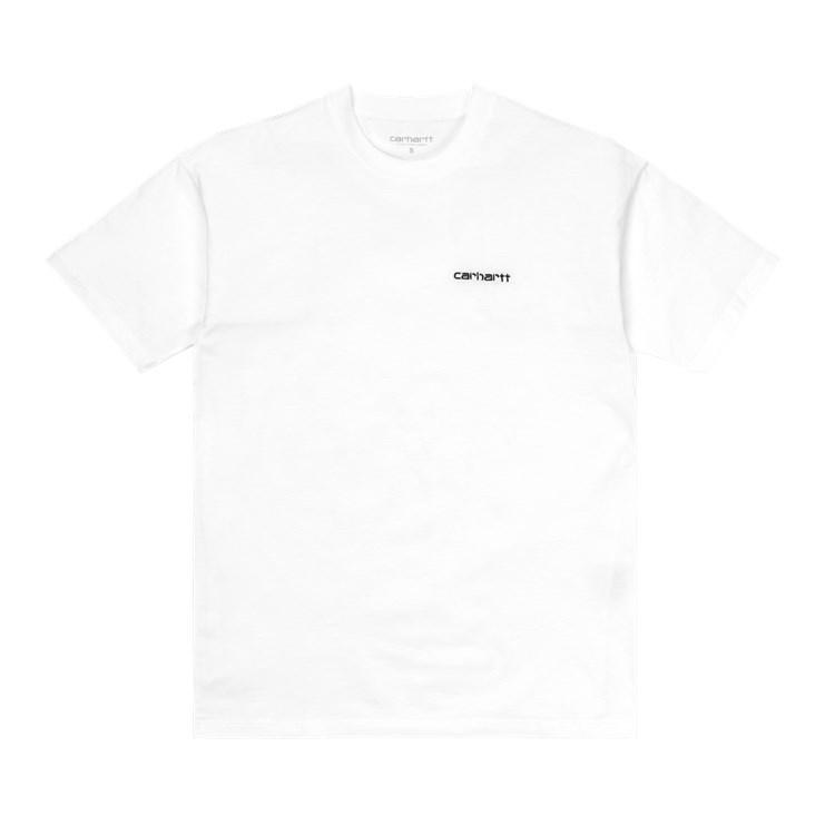 W' S/S Script Embroidery T-Shirt White / Black