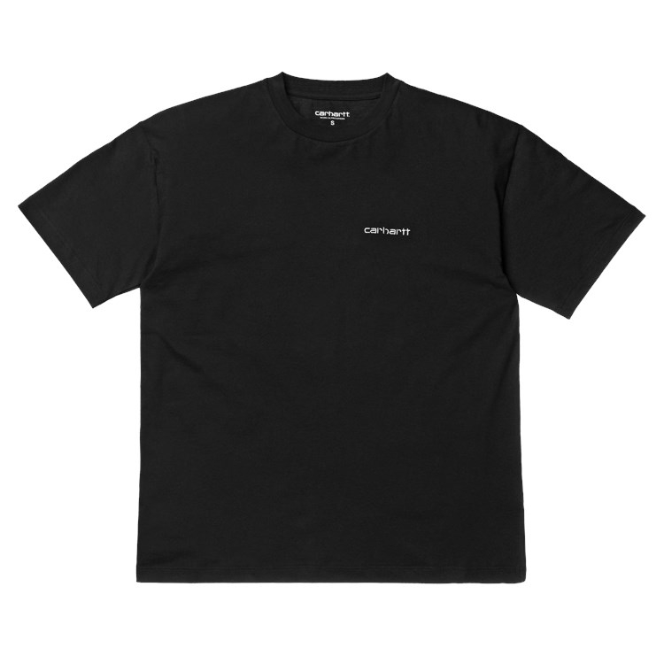 W' S/S Script Embroidery T-Shirt Black / White